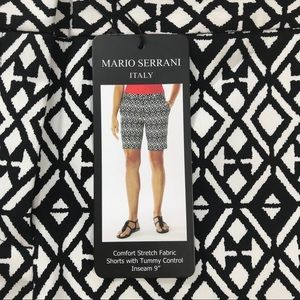Mario Serrani Shorts Black White Diamond Print 8